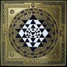 Tibetan Painted Tantric Mandala / Sacred Geometry