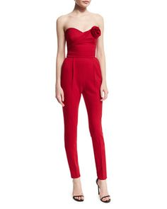 Strapless+Slim-Leg+Jumpsuit,+Red+by+Valentino+at+Neiman+Marcus.