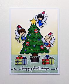 the Lawn Fawn blog: Christmas Card by SN Prints (using Trim the Tree, Fairy Friends, Winter Scripty Sayings, Holiday Party Animal)