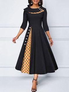 A Line Button Detail Polka Dot Print Dress Tight Dresses, Fall Dresses, Elegant Dresses, Sexy Dresses, Summer Dresses, Formal Dresses, Wedding Dresses, Dresses Dresses, Trendy Dresses