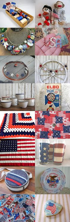 Hooray for the red, white and blue!  by Helen Hauser on Etsy--Pinned with TreasuryPin.com