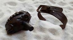 BB2 - Men's brown leather notched bracelet with brass rivet