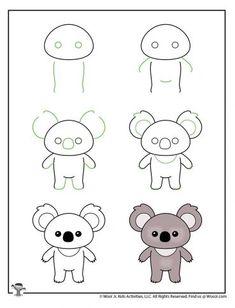 Kawaii Drawing for Kids Tutorials   Woo! Jr. Kids Activities Easy Animal Drawings, Easy Doodles Drawings, Easy Doodle Art, Easy Drawings For Kids, Cute Little Drawings, Simple Doodles, Cute Doodles, Kawaii Drawings, Art Drawings Sketches