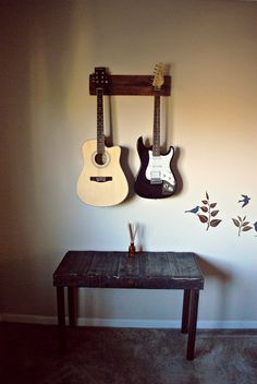 Double Guitar Wall Mount by ExodusGuitarStands on Etsy