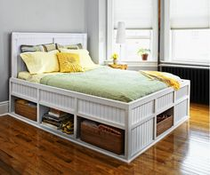 Woodworking For Beginners Diy Storage Bed - This Old House.Woodworking For Beginners Diy Storage Bed - This Old House Diy Storage Bed, Bed Frame With Storage, Bedroom Storage, Storage Spaces, Extra Storage, Smart Storage, Storage Drawers, Suitcase Storage, Pallet Storage