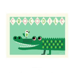 <p>Grande affiche horizontale d'un crocodile avec un oiseau, fond vert menthe, illustration Ingela P. Arrhenius, éditée par OMM Design. Pour égayer les murs de votre maison . On aime son dessin graphique et coloré et son format horizontal.</p>