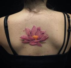 Pink Lotus Flower Tattoo by Felipe Mello