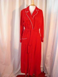 Red wool bathrobe with peppermint twist trim