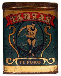 Tarzan Te Puro tea tin .... with figure of Tarzan in the jungle on the front