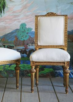 One Of A Kind Vintage Side Chair Original Gold Gilt Set Of 2.  Layla Grace.  $1200