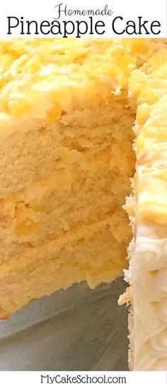 This Moist and Flavorful Homemade Pineapple Cake Recipe is the BEST! Scratch Yellow Cake Layers with a flavorful Pineapple and Cream Filling and Cream Cheese Frosting! MyCakeSchool.com.