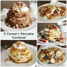 A fun weekend breakfast: cereal + pancake combos! YUM!
