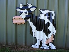 * Cute Cartoon Cow / Rustic Corrugated Iron Garden Ornament Yard Art Sculpture