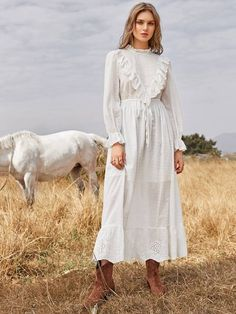 To find out about the Drawstring Waist Schiffy Ruffle Trim Swiss Dot Dress at SHEIN, part of our latest Dresses ready to shop online today! Muslim Fashion, Hijab Fashion, Korean Fashion, Fashion Dresses, Modest Fashion, Sunday Outfits, Mom Dress, Casual Wedding, Mode Vintage