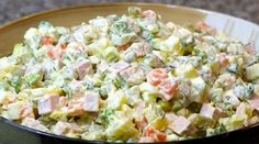 I love this salad. It is one of the best Russian dishes ever. I love this salad. It is one of the best Russian dishes ever. Russian Salad Recipe, Russian Potato Salad, Russian Dishes, Russian Recipes, Olivier Salad, Salad Dishes, Ceviche, Calories, Greek Recipes