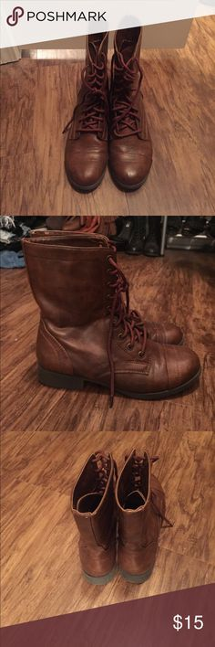 Brown combat boots (FREE black boots w/ purchase) Brown combat boots great shape! Rarely worn. Size 7 1/2 I am a true 8 and these fit my perfect. 🎉 FREE🎉 black BAKERS combat boots with purchase of brown boots!  🔴black boots (originally $120) have some wear which is why they're free with this purchase, but overall ok condition🔴 Shoes Combat & Moto Boots