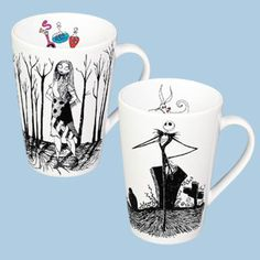 Nightmare Before Christmas Jack Skellington and Sally Coffee Mug Set (Rare - From Disney Store in 2002)