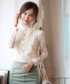 Elegant Medium Vintage Lace Women's High Collar Blouse  #DIY