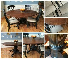 Lamp black milk paint, Antique walnut and Java gel stain, High Performance and Arm-R-Seal were used on this set. Check out Rehab to Fab on Facebook to see tutorial.  https://www.facebook.com/RehabtoFab #rehabtofab