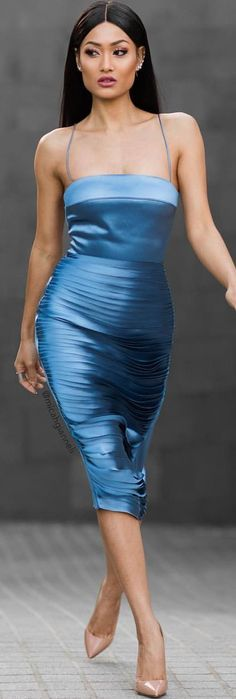 Blue Cami Dress Holiday Party Style Inspo by Micah Gianneli