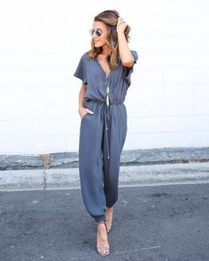 Item Type: Jumpsuits & Rompers Pattern Type: Solid Type: Jumpsuits Material: Cotton, Polyester Length: Full Length Fabric Type: Chiffon Decoration: Sashes Fit Type: Loose Colors: black, gray, blue Size :S, M, L, XL Long Jumpsuits, Playsuits, Jumpsuits For Women, Fashion Jumpsuits, Evening Jumpsuits, Jumpsuit Outfit, Casual Jumpsuit, Short Jumpsuit, Black Jumpsuit