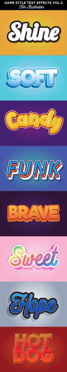 Buy Cartoon Text Effects for Illustrator by memetxsaputra on GraphicRiver. It's a set of cartoon texxt style. There are 8 graphic style, easy to use. Letras Abcd, Font Art, Layer Style, Custom Fonts, Photoshop Illustrator, Text Style, Text Effects, Graphic Design, Vector Design