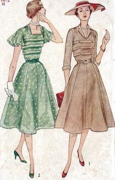 Vintage 1950s Misses Dress Sewing Pattern
