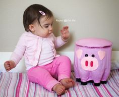 Plastic Bottle Pig Stool - Repeat Crafter Me