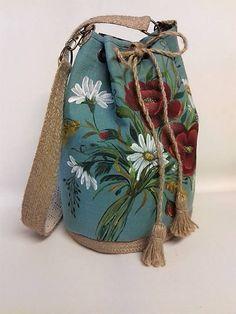 Maľovaná ľanová kabelka s rúškom Mobiles, Bucket Bag, Folk, Coin Purse, Purses, Wallet, Fashion, Handbags, Moda