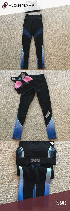 Bundle of VS PINK: Sports Bra and Legging Set Brand New (in online packaging) : PINK ultimate bundle: Racerback Sports Bra in size small. Features pocket to hold your smart phone and necessities while working out!!! Ultimate leggings feature mesh panels and quick dry fabric. Also size small. Bundle with my other PINK items to save 10% and to save on shipping! PINK Victoria's Secret Pants Leggings