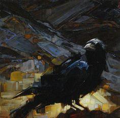 "Lindsey Kustusch. I really love how she handles the paint. The luminous gold geometrics really make the crow ""pop""."