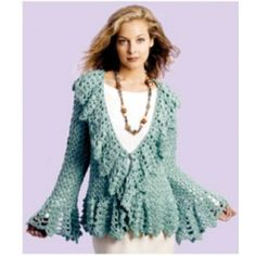Mary Maxim - Free Soft Sage Circle Jacket Crochet Pattern - Free Patterns - Patterns & Books