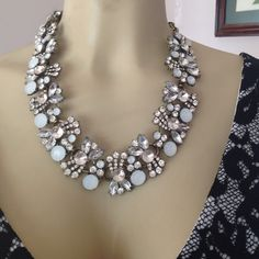 Chunky bib statement necklace with crystals Chunky bib statement necklace with clear and iridescent high quality crystals.  NWOT Jewelry Necklaces