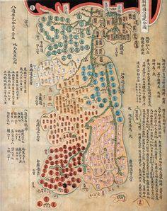 < 조선국 팔도통합도 >  조선지도에서 '서울'을 찾아보면 다른 표기보다는 '京'으로 표기된 경우가 압도적으로 많습니다. 물론 京으로 일괄 통일되어 있는건 아니죠.