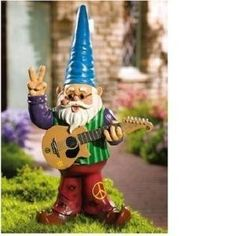 Hippie Home Decor on Peace Hippy Gnome Music Guitar Statue Garden Yard Home Decor Review At