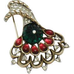 TRIFARI Philippe 1949 Moghul Brooch Pin Melon Glass Rhinestone BK PC