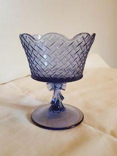 Vintage Fenton Glass Heart & Ribbon Basket Weave Compote / Candy Dish | Pottery & Glass, Glass, Art Glass | eBay!
