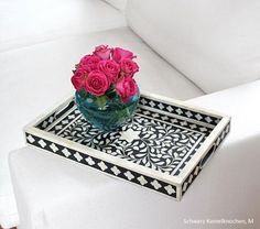 Bone Inlay Tray - I love  the floral pink contrasting with the black and glass vase for styling