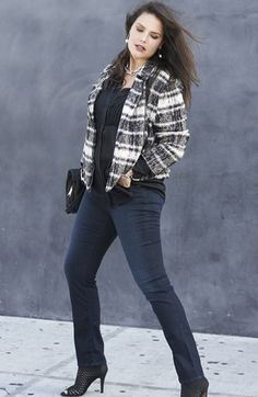 Lucky Brand Plaid Moto Sweater Jacket, Top & Jeans   Nordstrom