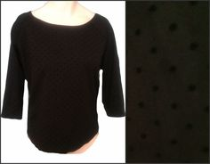 Casual Get-togethers or Shopping!! Add your favorite festive jewelry to this Knit Top Size XXL 2X Black Flocked Polka Dot on Black Fabric the GAP #GAP #KnitTop #Casual