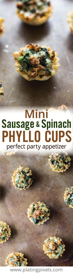 Mini Sausage and Spinach Phyllo Cups. Easy party appetizer recipe by Plating Pixels. Italian sausage, mushroom, spinach, onion, ricotta, mozzarella and Parmesan cheese in crispy bite size party snacks. - www.platingpixels.com
