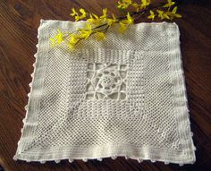 Off white crochet pillowcase, hand embroidered, vintage crochet lace, cotton, Romantic shabby chic at Designs By Willowcreek on Etsy by DesignsByWillowcreek on Etsy