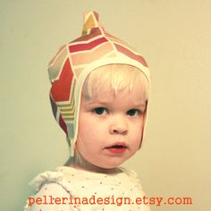 elf hat by pellerina... pink chevron hat with earflaps.. made to order - newborn 6m 12m 24m 2T. $18.00, via Etsy.