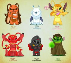 Experiments Chart 1 by Kahimi-chan on DeviantArt Disney Drawings, Cute Drawings, Disney Artwork, Lilo En Stitch, Stitch Cousins, Lilo And Stitch Characters, Movie Characters, Lilo And Stitch Experiments, Figure Drawings