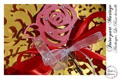 Lasercut wedding invitation - Faire-part Mariage -Modèle arabesque - La Rose Eternelle en rouge et doré. Faire-part ciselé, découpe façon laser Lasercut, Arabesque, Creations, Invitation, Laser Cutting, Red, Invitations, Reception Card