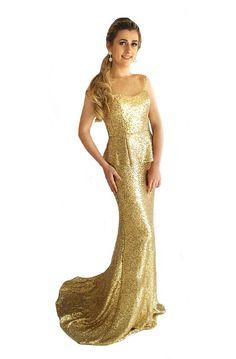 3eed0e16797 Miracle Agency Australian Designer Gold Sequin 9620 Peplum Mermaid Formal  Dress