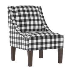 Ethan Allen Parker Chair In Black Cream Buffalo Check Family