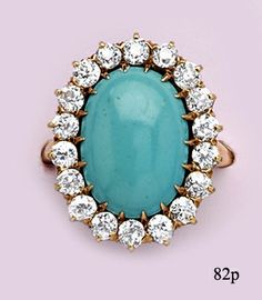 Persian Turquoise, Diamond and Gold Cluster Ring by Bailey, Banks, & Biddle at Nelson Rarities, Inc