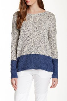 VINCE NEW Women's Designer Crewneck Color Block Gray Marl Sweater Pullover Top S #Vince #Crewneck