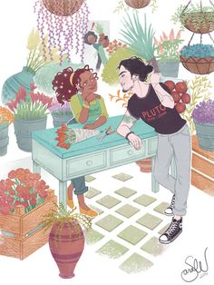 thetallsara:  Persephone's Flower Shop Modern AU of Greek deities??? I'd think Persephone runs a flower shop next to her mother's all-natural grocery store and gets really distracted when the pawn shop guy comes to visit.